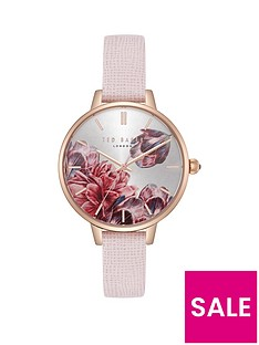 e26c31dfb94 Ted Baker Ted Baker Silver and Rose Gold Detail Floral Dial Pink Leather  Strap Ladies Watch