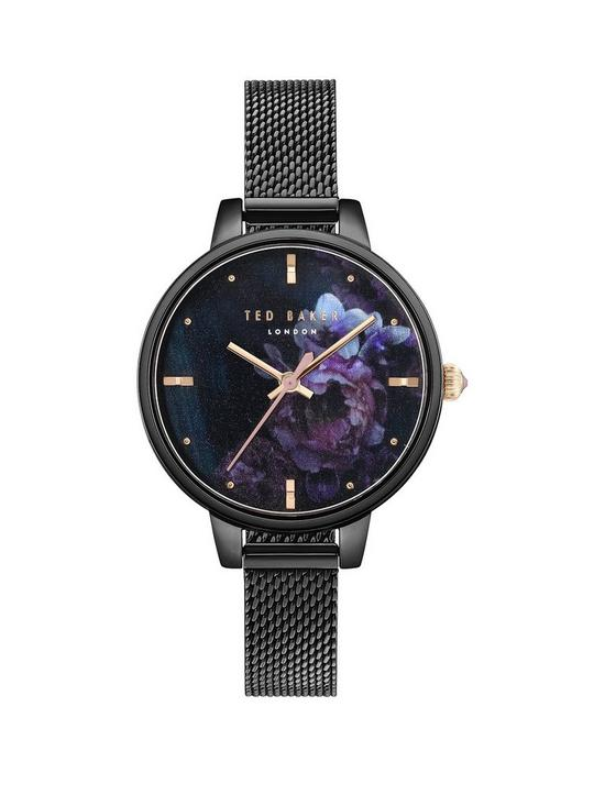 06342e08d Ted Baker Ted Baker Black and Gold Detail Floral Dial Black Stainless Steel  Mesh Strap Ladies Watch