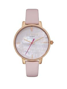 7bd727ac9 Ted Baker Ted Baker Mother of Pearl and Gold Detail Dial Pink Leather Strap Ladies  Watch