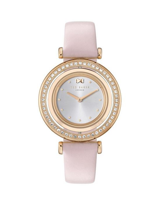 0fc045adb Ted Baker Ted Baker Silver and Gold Detail Crystal Set Dial Pink Leather  Strap Ladies Watch