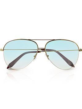 victoria-beckham-classic-aqua-nude-iridescentnbspaviator-sunglasses-gold