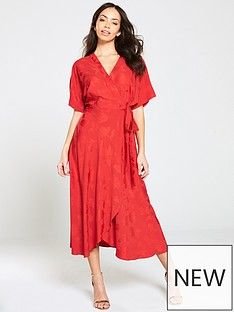 V by Very Jaquard Wrap Midi - Red e828a0fdee3