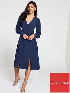 v-by-very-double-button-wrap-midi-dress-navy