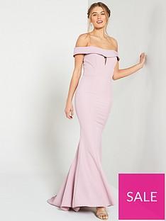 8b76de19a6620 Jarlo Jarlo Aja Folded Bardot Fishtail Maxi Dress