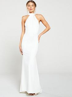77ee3d02464d69 Jarlo Jarlo Cecily High Neck Fishtail Maxi Dress