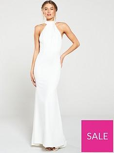 d577196692639 Jarlo Jarlo Cecily High Neck Fishtail Maxi Dress
