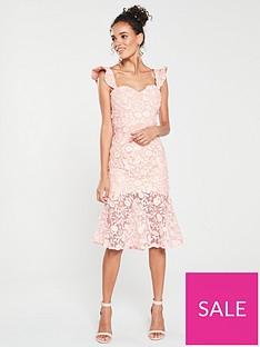 c7bac10d8deef Jarlo Jarlo Tootsie Bardot Lace Sheer Hem Dress
