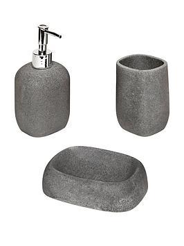 aqualona-grey-stone-3-piece-bathroom-accessory-set