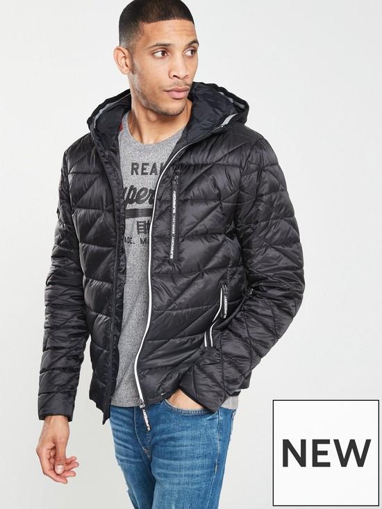 c16564ca3e74e Superdry Diagonal Quilt Fuji Jacket - Black | very.co.uk