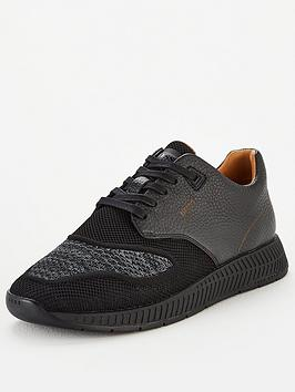 boss-titanium-leather-knit-trainer-black