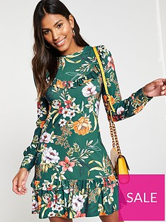 v-by-very-frill-yoke-floral-jersey-printed-dress-green