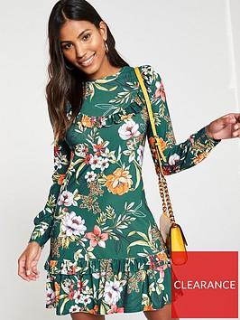 v-by-very-frill-yoke-floral-jersey-printed-dress-green
