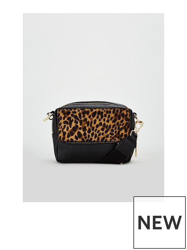 0d523b0f421b WHISTLES Bibi Leather Leopard Shoulder Bag | very.co.uk