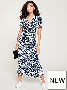 e95abb15c4de WHISTLES Brushed Leopard Button Through Dress - Blue