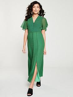 whistles-cecily-check-button-through-dress-greenmulti