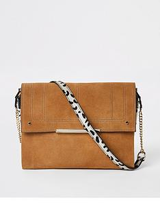 3f4918afb9751e River Island River Island Leather Contrast Print Foldover Bag - Tan