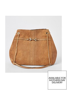 river-island-river-island-leather-snaffle-detail-slouch-shoulder-bag-tan