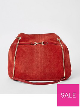 river-island-river-island-leather-snaffle-detail-slouch-shoulder-bag-red