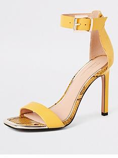 357300227ac6 River Island River Island Barely There Heeled Sandals - Yellow