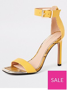 c3173d9386 River Island River Island Barely There Heeled Sandals - Yellow