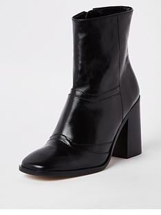e8a25bcd2ec8 River Island Leather Ankle Boot - Black