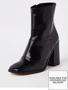 River Island Leather Ankle Boot - Black 8ac1ba85e957