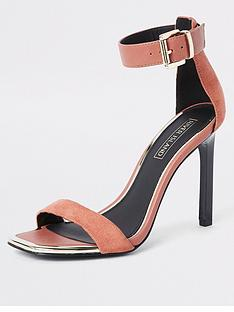0ca90d64b6d River Island River Island Barely There Heeled Sandals - Nude
