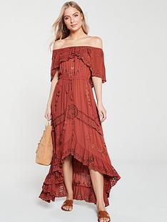 d5f6f3ec4 V by Very Broderie Embroidery Bardot Maxi Dress - Rust