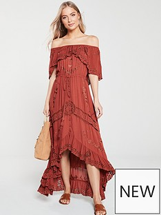 7a45653d64 V by Very Broderie Embroidery Bardot Maxi Dress - Rust