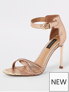 045c3f368ee8d River Island River Island Wide Fit Barely There Heeled Sandals - Gold