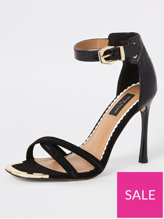 d564fc0f96 River Island River Island Wide Fit Barely There Heeled Sandals - Black |  very.co.uk