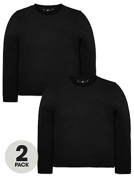 v-by-very-unisex-2-pack-crew-neck-sweat-tops-black
