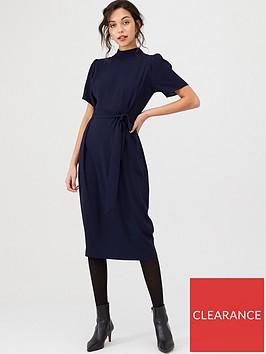 v-by-very-tie-waist-high-neck-midi-dress-navy