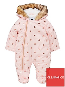 v-by-very-baby-girls-foil-spot-fleece-lined-hooded-snowsuit-pink
