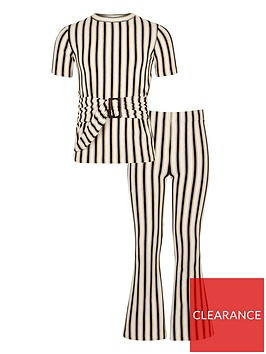 river-island-girls-stripe-flare-trouser-outfit-cream