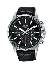 e79855171 Pulsar Pulsar Black and Red Detail Chronograph Dial Black Leather Strap Mens  Watch