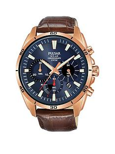 pulsar-pulsar-solar-blue-and-rose-gold-detail-chronograph-dial-brown-leather-strap-mens-watch