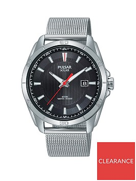 pulsar-pulsar-solar-black-and-red-detail-date-dial-stainless-steel-mesh-strap-mens-watch