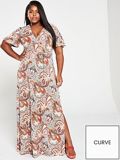 bc00d584765 V by Very Curve Wrap Maxi Dress - Paisley Print
