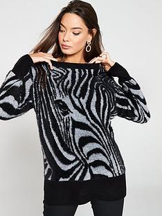 784240fad5b River Island River Island Zebra Print Knitted Jumper - Black