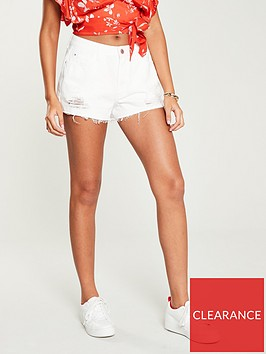 v-by-very-high-waist-distressed-hem-shorts-white