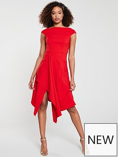 7d169b71e V by Very RIVIERA Draped Asymmetric Hem Prom Dress - Red