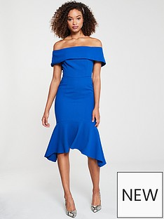 40116ab948ef V by Very ARIA Bardot Fitted Fishtail Midi Dress - Cobalt