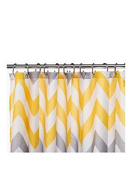 croydex-chevron-textile-shower-curtain-ndash-yellow-grey-and-white