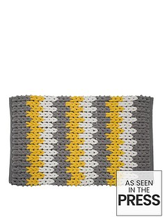 croydex-yellow-white-and-grey-patterned-bath-mat