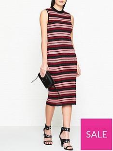 mcq-alexander-mcqueen-metallic-stripe-pencil-dress-pinkred