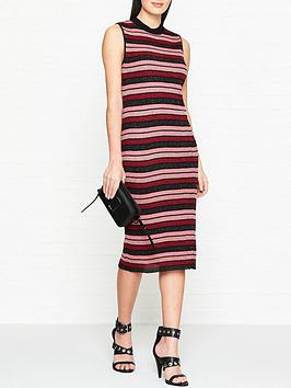 mcq-alexander-mcqueen-metallic-stripe-pencil-dress-pinkred