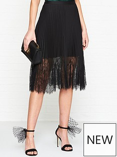 mcq-alexander-mcqueen-pleated-lace-skirt-black