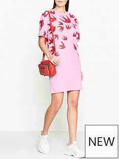 mcq-alexander-mcqueen-swallow-print-t-shirt-dress-pinkred