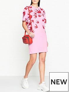 mcq-alexander-mcqueen-swallow-print-t-shirt-dress-pinkred